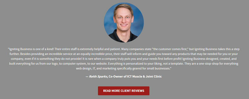 testimonial review with smiling client headshot
