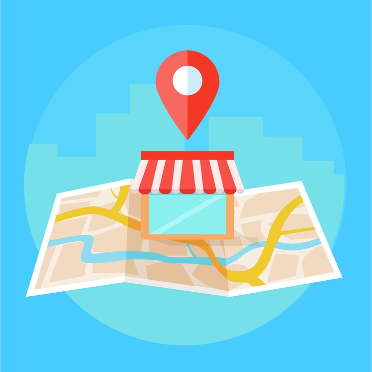 business location marked on map graphic